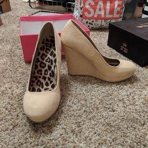 Platform nude wedge heels size 8